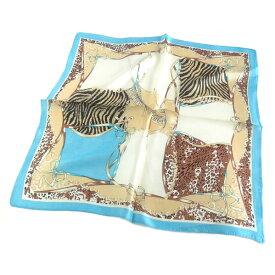 シルクスカーフ ゼブラ柄×ヒョウ柄コラボネッカチーフサイズ約50cm正方形水色×ブラウン