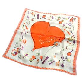 訳あり シルクスカーフ 手描き風ハート柄ネッカチーフサイズ約50cm正方形オレンジ色×コスメ柄
