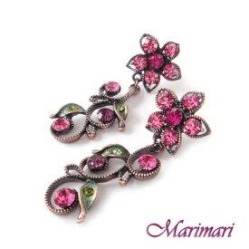 ◆アンティーク調 スワロピアスマゼンダフラワーモチーフがクラシック☆ワンピースにもジャケットにも合いますお花の直径は2cmで存在感あり贈り物にも最適です