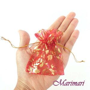 オーガンジー巾着 少量 極小サイズ 内寸約6×6.5cm 模様入りオーガンジー巾着5枚セットボルドー地に金色の薔薇の花デザインピアスやリング入れに