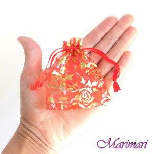 プチオーガンジー巾着5枚セット極小サイズ 内寸約6.5×7cm 模様入レッド朱赤地に金色の薔薇デザインピアスやリング入れに