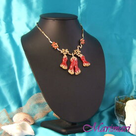 a093615ceb699e パーティーネックレス朱赤の珊瑚モチーフゴールドのお花ボリュームたっぷり◇