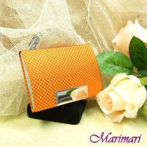 訳あり 名刺入れビジネスカード入れオレンジ 市松アルミ縦横:約6.5×約9.6cm