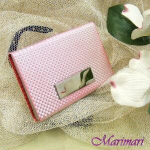 訳あり 名刺入れ市松ビジネスカード入れピンク色織物の手触りアルミベース選べる5色展開縦横約6.2約9.6cm