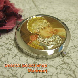 高級コンパクトミラーフリンジジュエリー王冠の王子拡大鏡つき(スウェード調携帯用巾着付き)◆