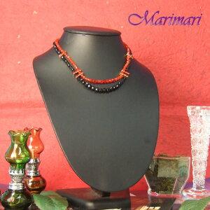 ◆ゴージャス パーティー仕様水晶のような2連ネックレス上品な艶めくブラック×レッド真っ赤なスワロが輝きます