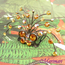 シャンデリア ミニティアラヘッドアクセ 大粒水晶スワロ琥珀色の蝶ちょが枝垂桜をバックにガンメタル色台×琥珀色(オーロラMIX)+レモンスワロ