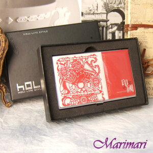 ◆ 名刺入れ ビジネスカード入れ 贈り物印象中国 京劇 切り絵プリント柄 朱色(くすんだ赤色)表面がなだらかにラウンド縦横:約5.8×約9.3cm