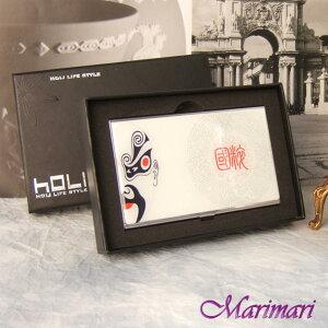 ◆ 贈り物 名刺入れビジネスカード入れ中国京劇キャラクター半面「國粋」印入りプリント柄 ホワイトにブラック・レッド・グレー色表面なだらかラウンド縦横:約5.8×約9.3cm