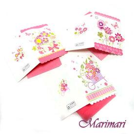 メッセージカード 3枚セット花籠 ポッピンググリーティングカード掌サイズのグリーティングカードピンクフラワー模様ギフトカード可愛いピンク蝶ちょ色々使える3デザインワンセット封筒付き