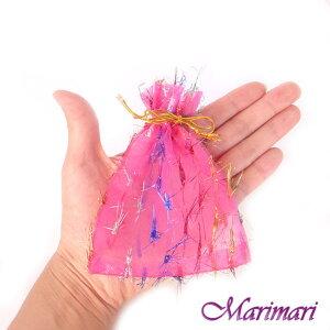 小サイズ オーガンジー巾着20枚セットキラキラフリンジ加工内寸約9.5×9.5cm カラフルファンキープレゼントを賑やかに演出
