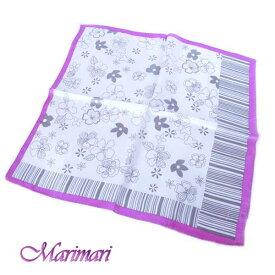 シルクスカーフ レトロフラワーネッカチーフサイズ約50cm正方形紅紫 べにむらさき端のストライプで表情変えれる