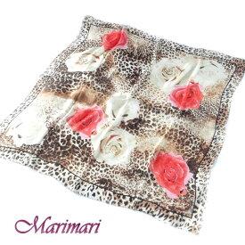 訳あり 地紋入り 大判シルクスカーフ[アニマル柄と薔薇のコラボ]朱赤レッド額に入れて飾れる約80cm正方形