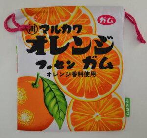 メール便で送料無料 お菓子パッケージ柄巾着 マルカワ フーセンガム オレンジ いちご FRK868