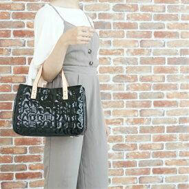 ラインステッチエナメル レディース ハンドバッグ おしゃれ エレガント 牛革 合皮エナメル キルティングバッグ しっかりとした縫製 オリジナル生地