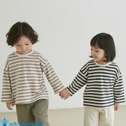 韓国子供服ボーダー厚手長袖Tシャツナチュラル韓国子供服男の子韓国こども服女の子キッズスウェット秋90cm-130cm4色
