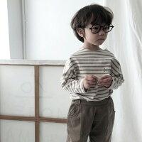 韓国子供服バゲットボーダー長袖tシャツトップスナチュラル韓国子供服男の子韓国こども服女の子春キッズ80cm90cm100cm110cm120cm130cm3色