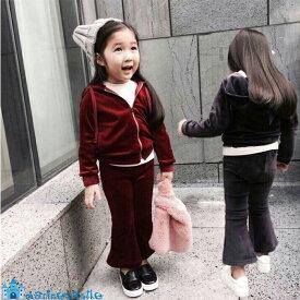 c7b80fb9820a31 韓国子供服 秋 キッズ ベロア上下セットアップ 女の子 男の子 カジュアルセットアップ パンツセット パーカー 韓国