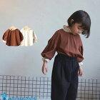 韓国子供服コットンレース付きブラウスナチュラル韓国子供服女の子韓国こども服秋90cm-130cm2色