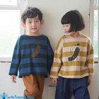 韓国子供服バードプリントボーダーゆったり長袖Tシャツナチュラル韓国子供服男の子韓国こども服秋80cm-130cm2色