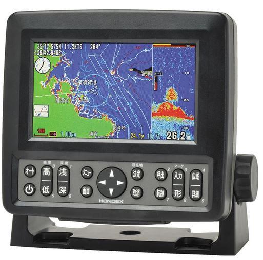 【送料無料】HONDEX(ホンデックス)5型ワイドカラー液晶 GPSプロッター魚探HE-601GPII GPSアンテナ内蔵300W 200KHz 単周波※返品・キャンセル不可