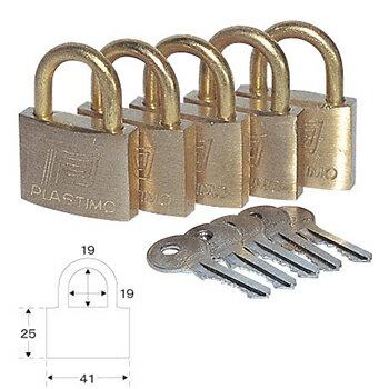 プラスチモ パッドロック(共通キー)5個セット L