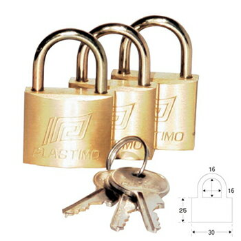 プラスチモ パッドロック(共通キー)3個セット S