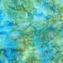 【ワンダフルデー!4/1(水)店内ポイント5倍!】 ハワイアン生地 タイダイシェル ターコイズ コットン 貝殻 貝がら ひとで ヒトデ 巻貝 グ…