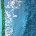 ハワイアン生地 ブルー 貝がら柄/シェル パウスカート生地 フラダンス【RCP】【小型宅配便】【コンビニ受取対応商品】【3mまでゆうパ…