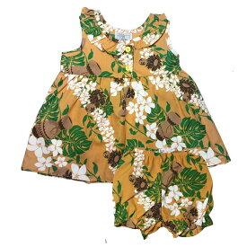5900dd90af3d6 ハワイアン ベビー パンツ付きワンピース マスタード 18ヶ月 幼児用 子供服 キッズ