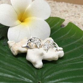 【平日13時までのご注文は当日発送】 ハワイアンジュエリー シルバーピアス プルメリア×イルカ シルバー hawaiian jewelry