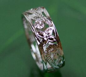 【キャッシュレス5%還元対象!】 ハワイアンジュエリー リング シルバー リング スカシスクロールリング 幅細 指輪 プルメリア