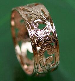 【キャッシュレス5%還元対象!】 ハワイアンジュエリー リング シルバー リング スカシスクロールリング 幅太 プルメリア 指輪