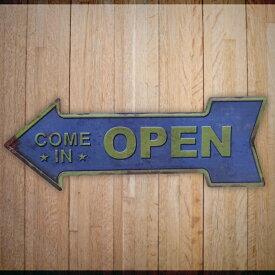 ブリキ看板 オープン OPEN アメリカン雑貨 アンティーク レトロ プレート インテリア ガレー 店舗 ヴィンテージ風 カフェ バー
