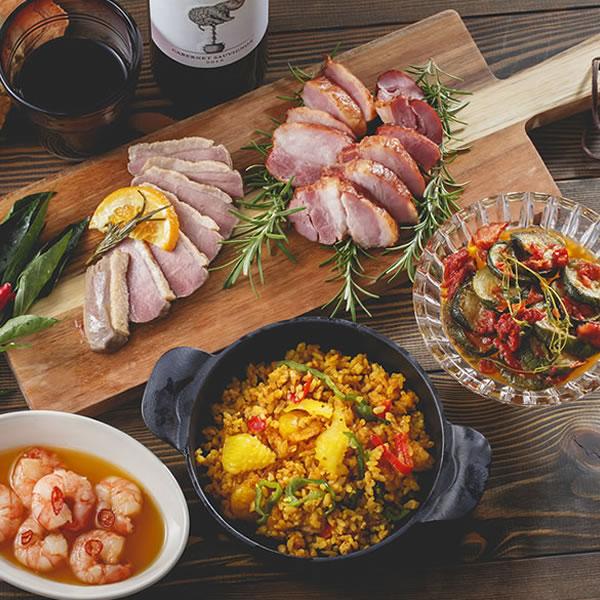 【モン・テルセーロ スペイン本格料理セット】スペイン料理 アヒージョ 合鴨 ベーコン イベリコ豚 マリナーラ パエリア 調理済み セット オードブル