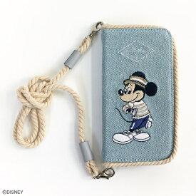 スマホケース アコモデ ディズニー ミッキー マリンルック デニム生地 ショルダー iPhoneケース 手帳型 アイフォンケース iPhone6/6s/7/8対応 ショルダーロープ付き
