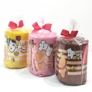 スヌーピー グッズ お菓子 プチギフト ピンクのリボン付き クリームサンド ビスケット 3種類セット ( ストロベリー レモン チョコレート )