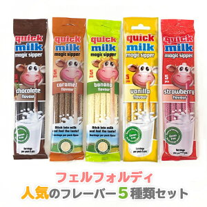 【クリックポスト送料込み】 フェルフォルディ クイックミルク 5種類x3 15袋セット フレーバーミルク 牛乳 ストロー ストロベリー バナナ キャラメル バニラ チョコレート チョコミルク バナ