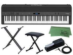 【即納可能】Roland FP-90X-BK + キーボードスタンド + チェア + マークスミュージック オリジナルクロス セット(新品)【送料無料】