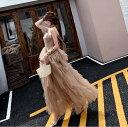 ドレス パーティードレス レディース 結婚式 パーティー お呼ばれ 二次会 演奏会 ロングドレス 袖なし ヌーディーカラー ティアード ふんわり エアリー 20代 30代 大きいサイズ