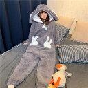ルームウェア レディース もこもこ 秋冬 パジャマ 部屋着 寝巻き ナイトウェア ホームウェア モコモコ 前開き ワンピース ジャンプスーツ フーディー もこもこ うさぎ パンツ 暖かい 防寒 着ぐる