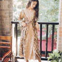 パーティードレス ワンピース ドレス 結婚式 お呼ばれ 切り替え レース レトロ 花柄 長袖 春 秋 10代 20代 30代 ブラウン 二次会 大人可愛い きれいめ おしゃれ 個性的 エスニック 韓国