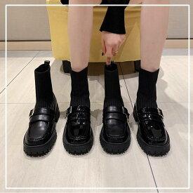ブーツ レディース ローファー シューズ 靴 ショートブーツ ソックスブーツ ヒール かわいい カジュアル おしゃれ 黒 無地 広沢 ドッキング シューズ 切り替え デザイン ミドルヒール ローヒール ソフトブーツ ソックス デート 通学 学生 ブラック こなれ感 10代 20代 30代