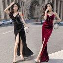 キャバ ドレス ロング シンプル 黒 赤 ベルベット シンプル きれいめ ロングドレス キャバ パーティードレス ロング ワンピース 無地 袖なし 結婚式 お呼ばれ ドレス セクシー かっこいい タイ