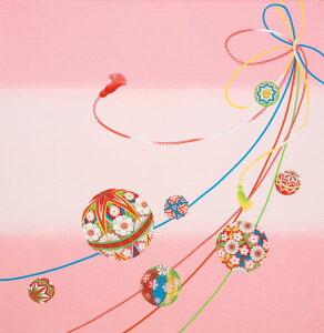 正絹ちりめん友仙 二巾まり紐(ピンク)【日本製・結婚御祝・出産祝・長寿祝・内祝・引き出物・プレゼント】