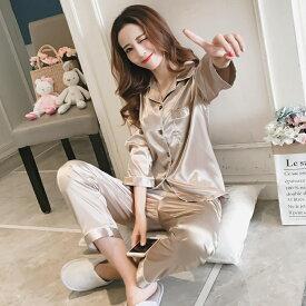 パジャマ ルームウェア サテン 大人 韓国ファッション通販 襟付き 秋 冬 長袖 長ズボン レディース ベージュ グレー ネイビー ピンク ワインレッド レッド M L XL ネグリジェ セットアップ 部屋着 パジャマ 寝巻き 上下 ナイトウェア