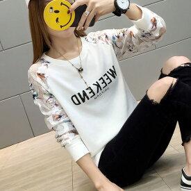トップス Tシャツ 長袖 袖シースルー 花柄 透け感 ロゴ 韓国オルチャン 原宿系 スポーティ ストリート 個性的 可愛い レディース ホワイト M L XL 2XL