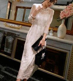 ワンピース 韓国ドレス ロングワンピース ロングドレス お呼ばれ 結婚式 二次会 花柄レース 春 夏 秋 シースルー パーティー セレブ フォーマル エレガント 上品 きれいめ 清楚 セクシー 大人 個性的 韓国ファッション 長袖 レディース ベージュホワイト S M L XL
