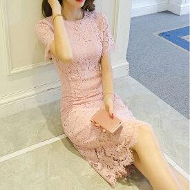 ワンピース 韓国ドレス 半袖 ひざ丈 総レース シンプル シースルー 結婚式 春 夏 二次会 お呼ばれ パーティー お出かけ フォーマル エレガント セレブ 上品 きれいめ 清楚 大人 可愛い レディース ホワイト ブルー ブラック レッド ピンク S M L XL 2XL