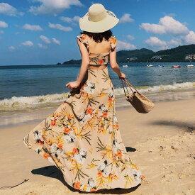 リゾートワンピース 花柄 Aライン フレアスカート バックコンシャス 背中見せ 春 夏 ノースリーブ マキシ丈 ロング丈 お嬢様  旅行 ビーチ バカンス オルチャン 大人可愛い カジュアル 上品 きれいめ デート セクシー フェミニン ガーリー レディース